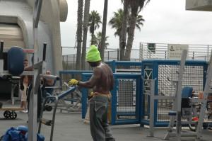 Fitness område ved Venice Beach. Her har Arnold Schwarzenegger startet sin karriere.